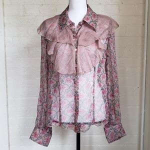 Anna Sui for Anthropologie Silk Floral Blouse